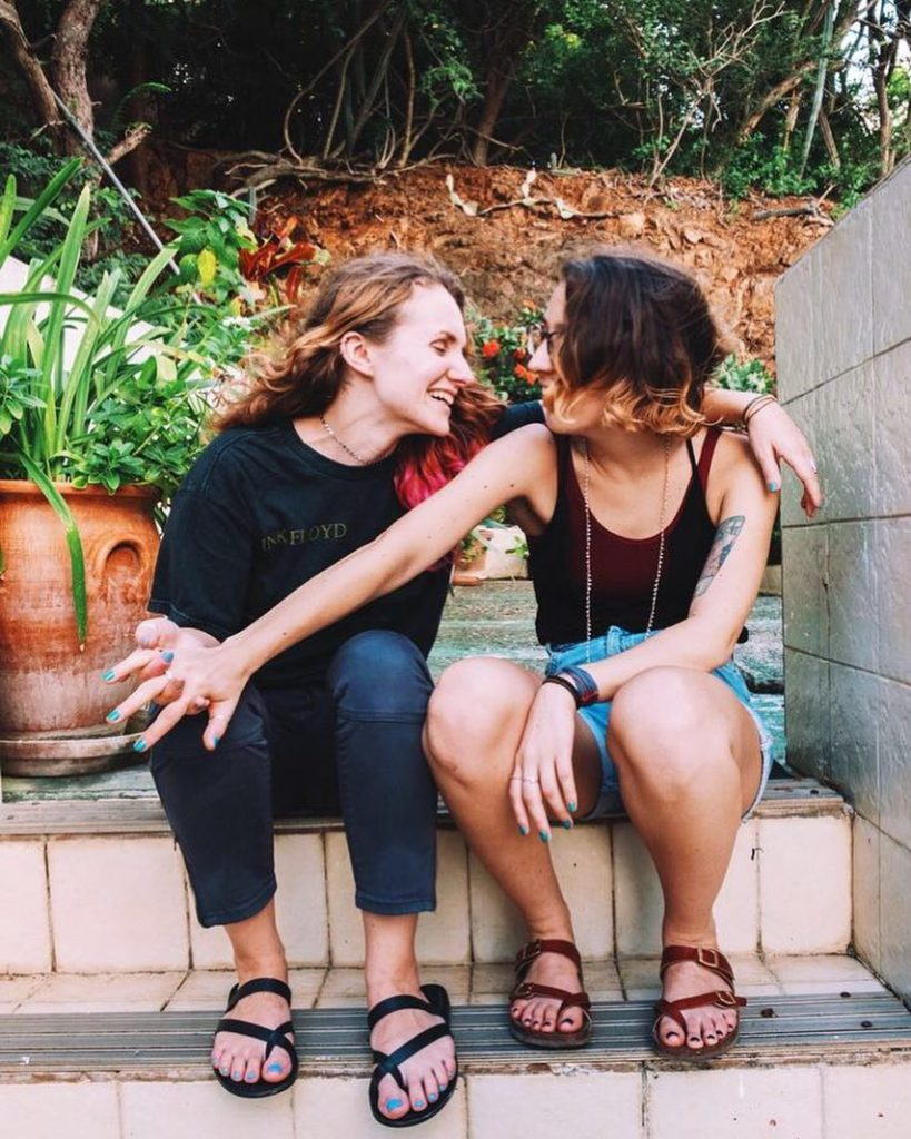 Lesbian instagram and youtube travel couple Gabi and Shanna, 27Travels, in Willemstads, Netherlands Antilles