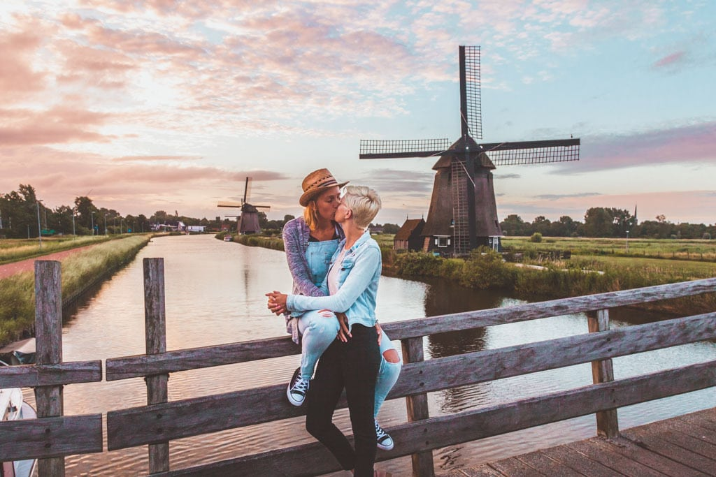 how lgbt friendly is the netherlands, alkmaar, the netherlands, windmills, windmill, kinderdijk, lesbian couple, lesbian travel, lgbt travel, amsterdam