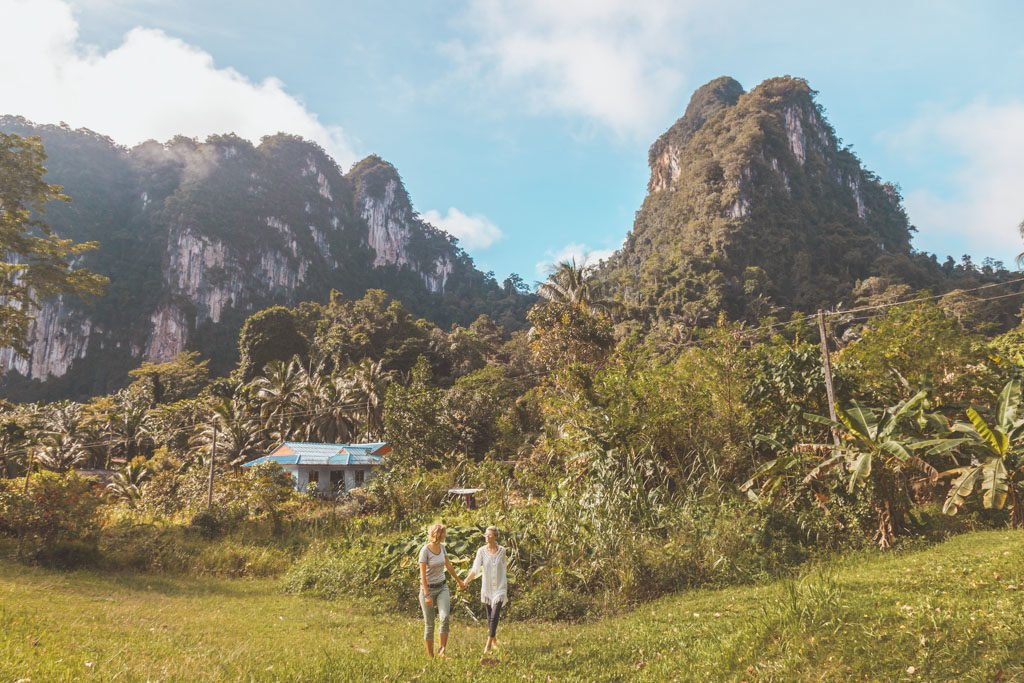 Lesbian couple, Khao Sok National Park on a budget, how to get to khao sok national park, khao sok on a budget, khao sok national park things to do, khao sok national park day tour, khao sok national park independently, khao sok national park thailand, cheow lan lake, cheow lan lake day trip, lime stone mountains, thailand, lgbt travel blog