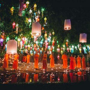 Chiang Mai Lantern festival Thailand Buddhist ceremony
