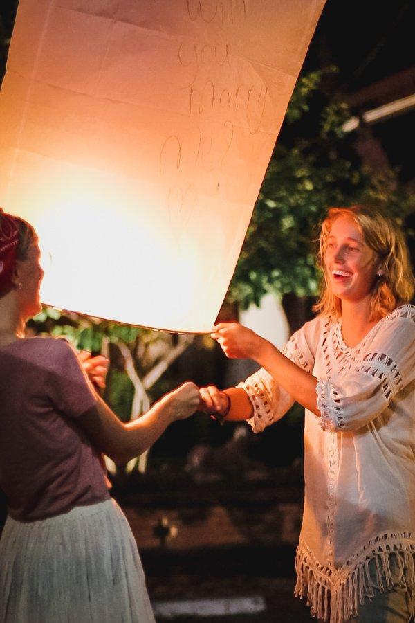 Chiang Mai lantern festival lesbian proposal