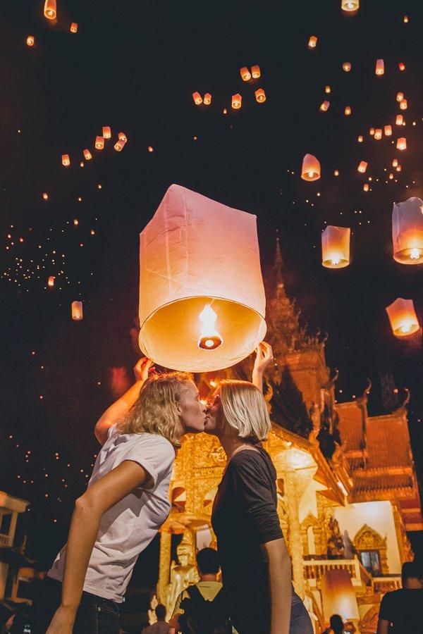 Chiang Mai temple, lantern festival Thailand