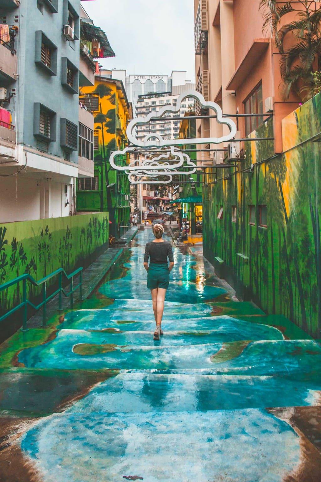 Bukit Bintang Street Art Waterfall Clouds, Kuala Lumpur