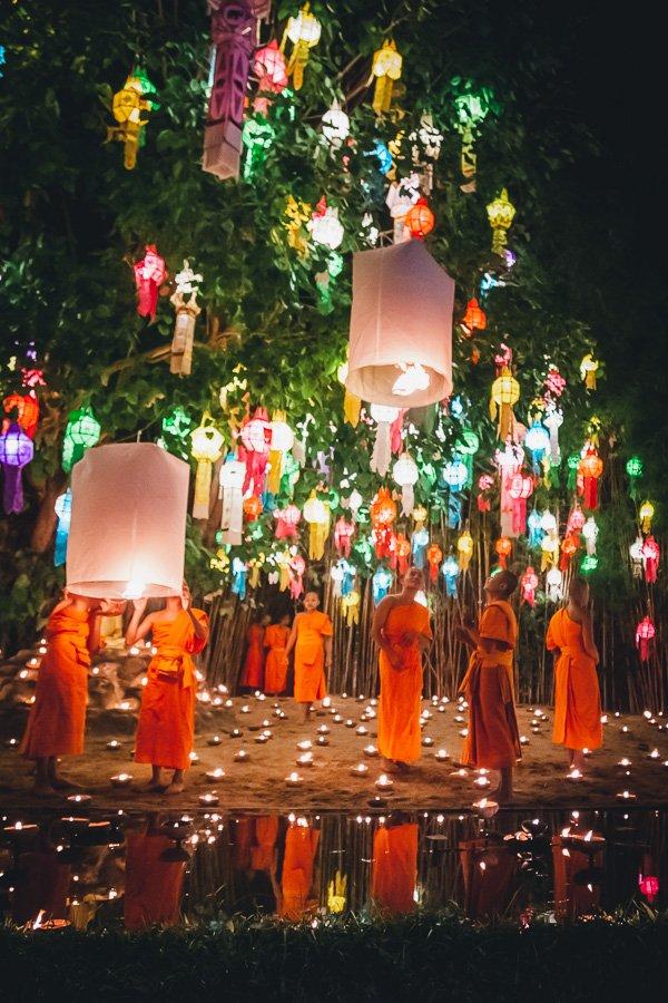 Lantern festival Thailand Buddhist ceremony Chiang Mai