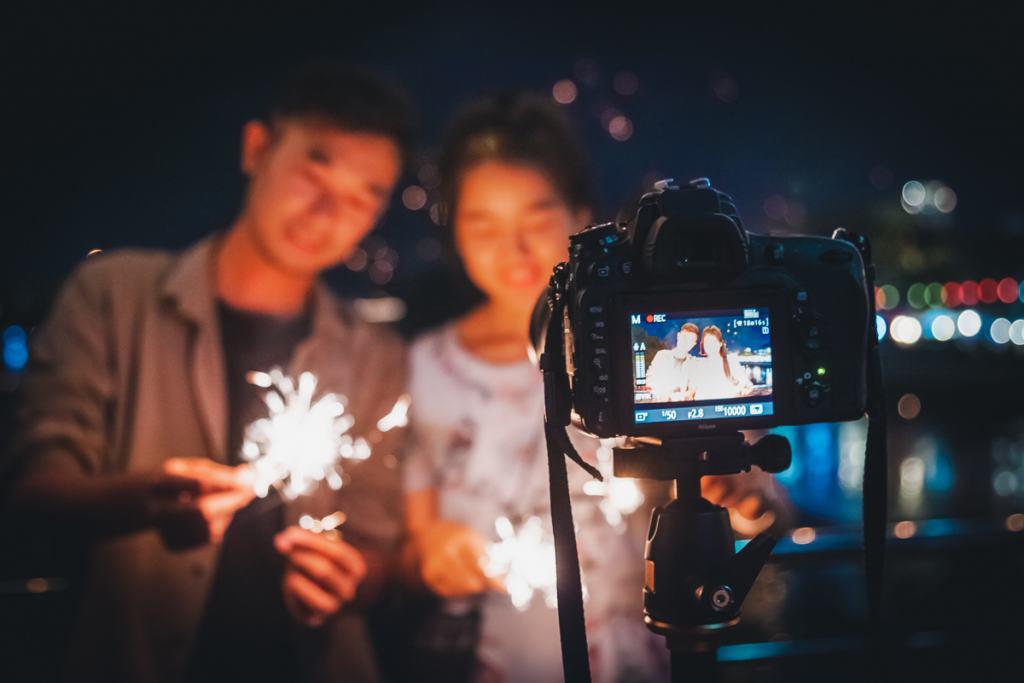 Lantern festival Thailand fireworks, Nawarat Bridge, Chiang Mai