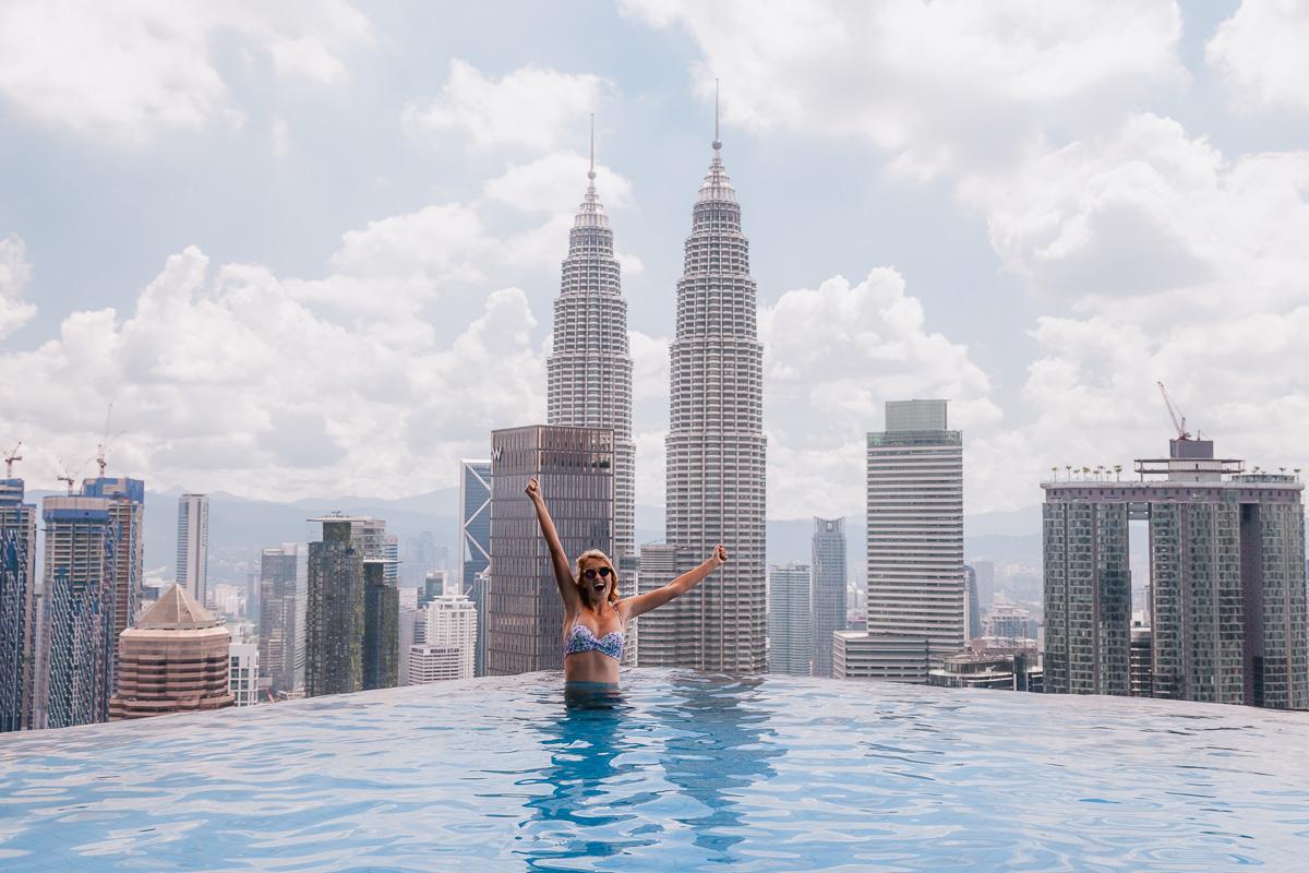 The Face Suites Infinity Pool Petronas Tower view Kuala Lumpur
