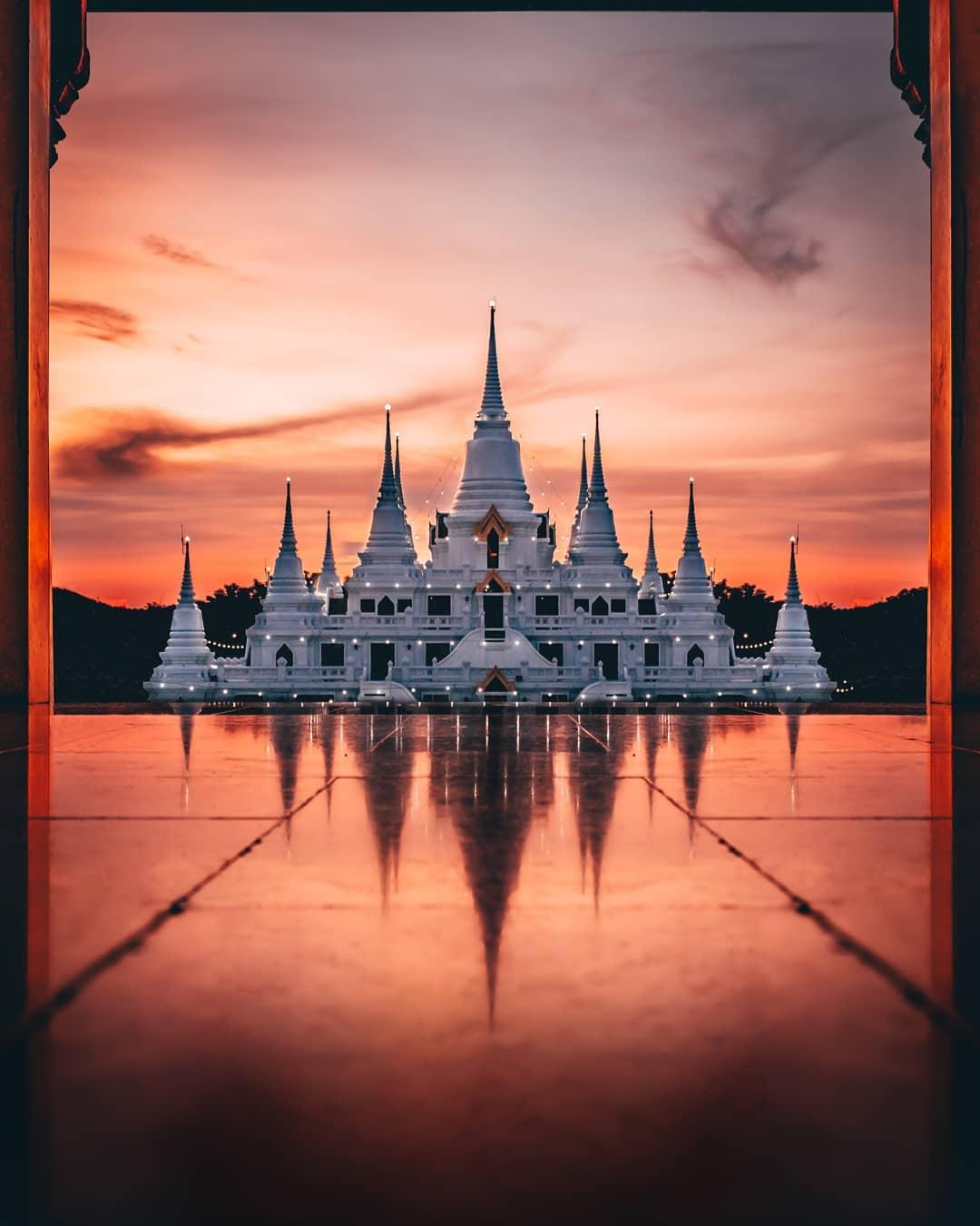 Wat Asokaram, White Temple, Samut Prakan, Bangkok, Thailand by Kan Kankavee