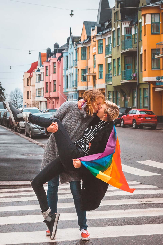 Huvilakatu, rainbow street, Helsinki, Finland