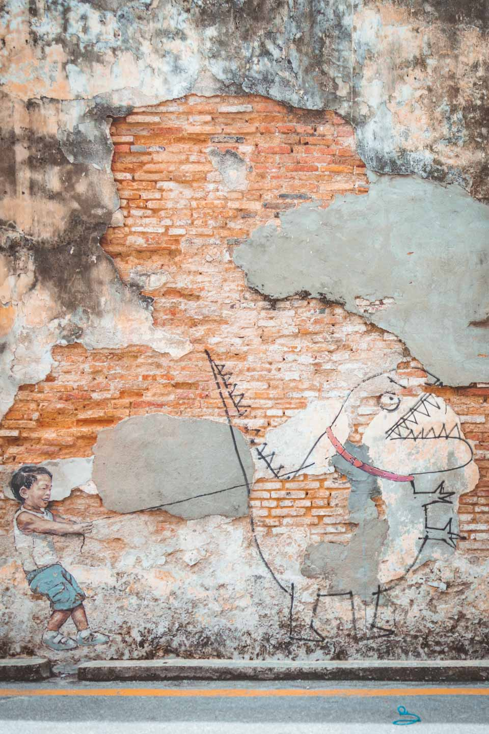 Boy with Pet Dinosaur, Ernest Zacharevic, Penang Street Art, Georgetown