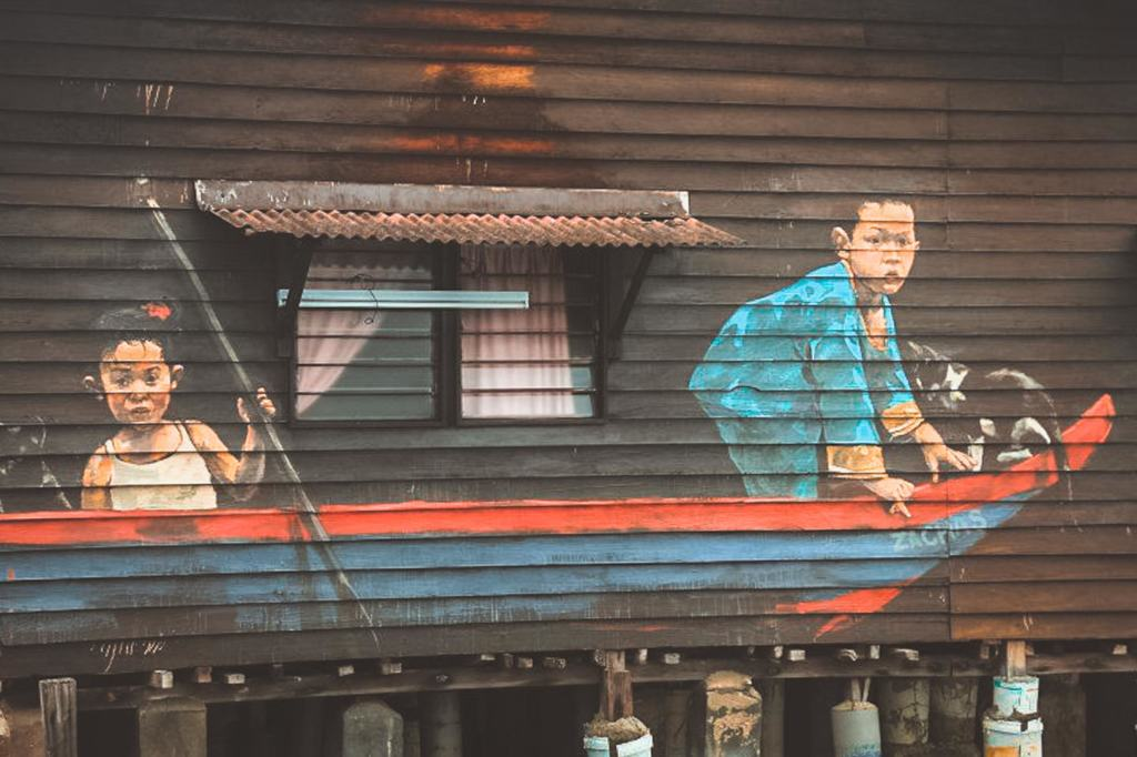 Children in a Boat Mural, Ernest Zacharevic, Chew Jetty Penang Street Art, Malaysia