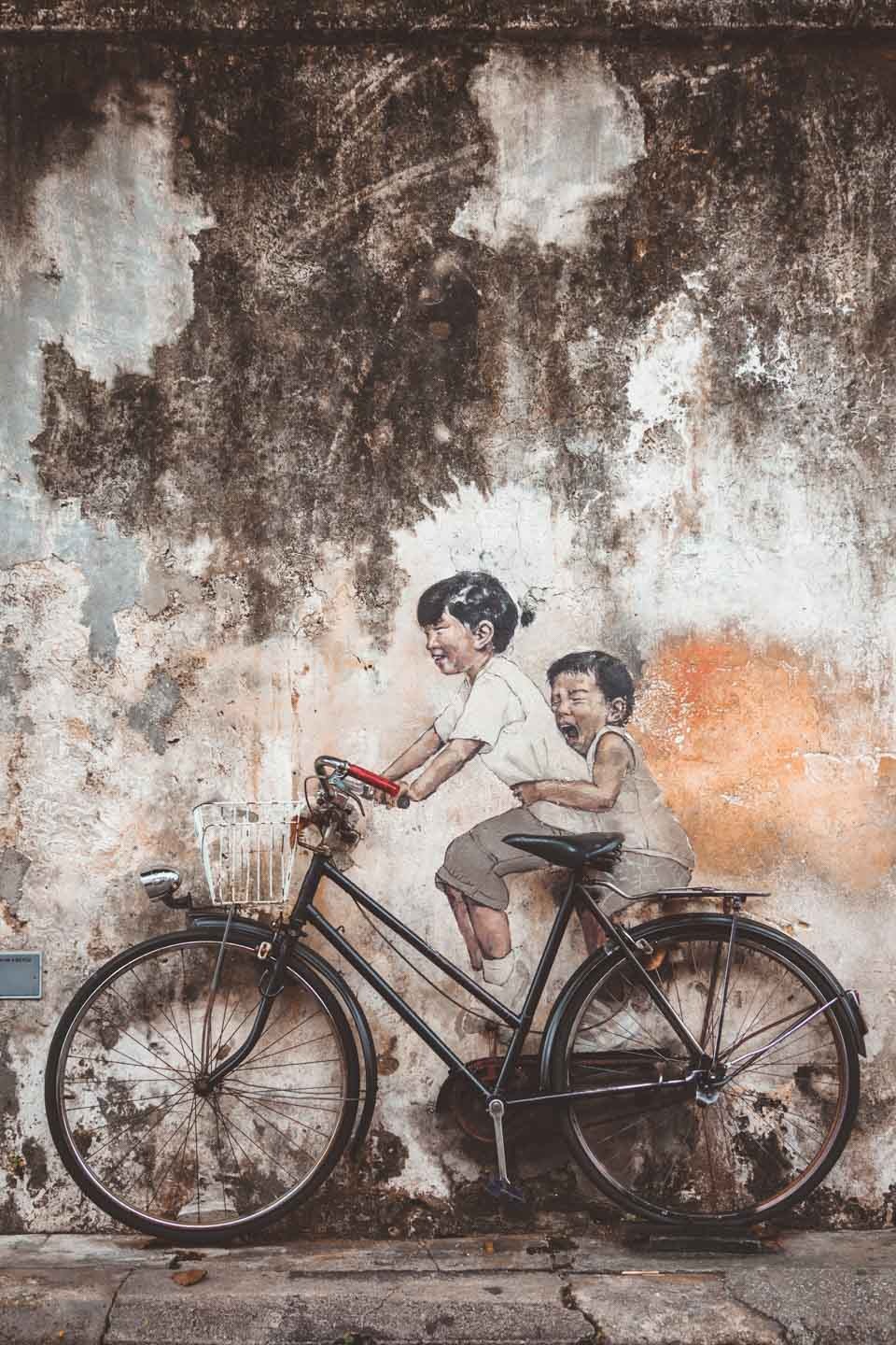 Children on Bicycle, Ernest Zacharevic, Penang Street Art, Georgetown