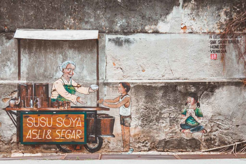 Old Soy Milk stall by Louis Gan Yee Loong, Penang Street Art, Malaysia
