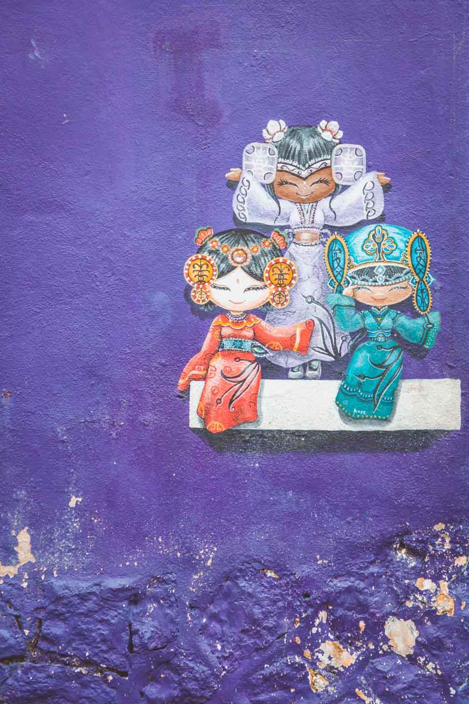 Wo Ai Nee Chinese Malay Indian, Cultural Girls Georgetown, Lebuh Armenian, Penang Street Art