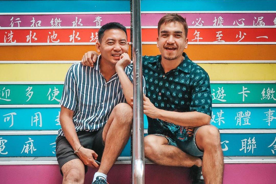 Rainbow stairs Gay Taiwan, gay travel couple