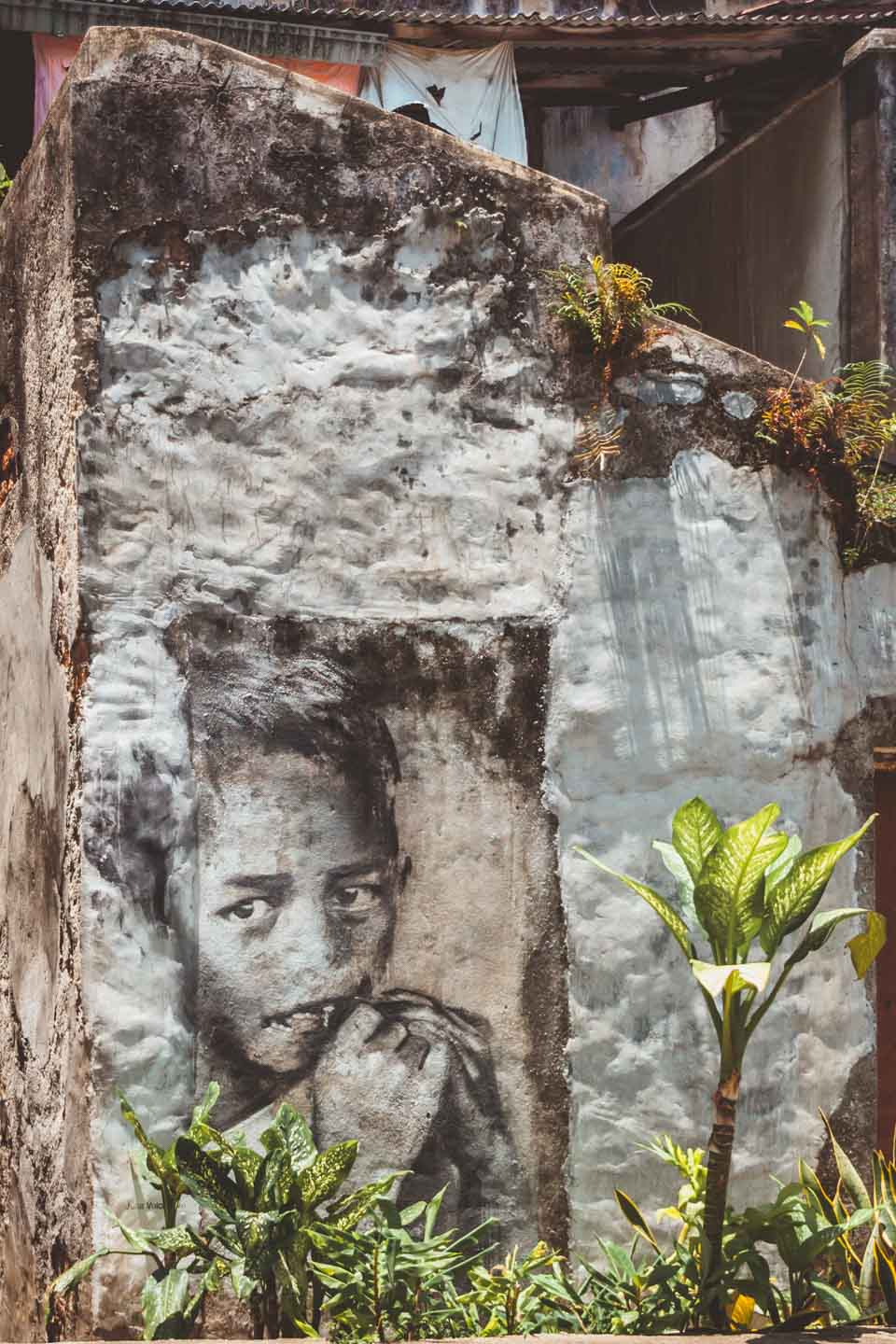 Child at Play, Boy at Prangin Canal mural by Julia Volchkova, Penang