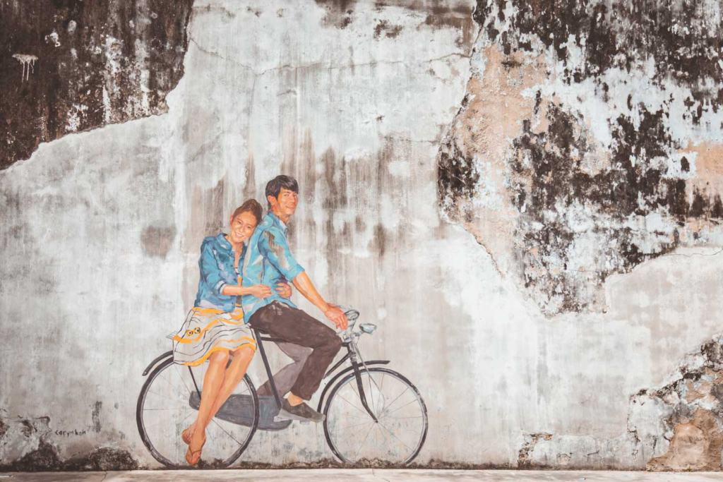 Couple on a bicycle by Caryn Koh, Georgetown Street Art, Penang