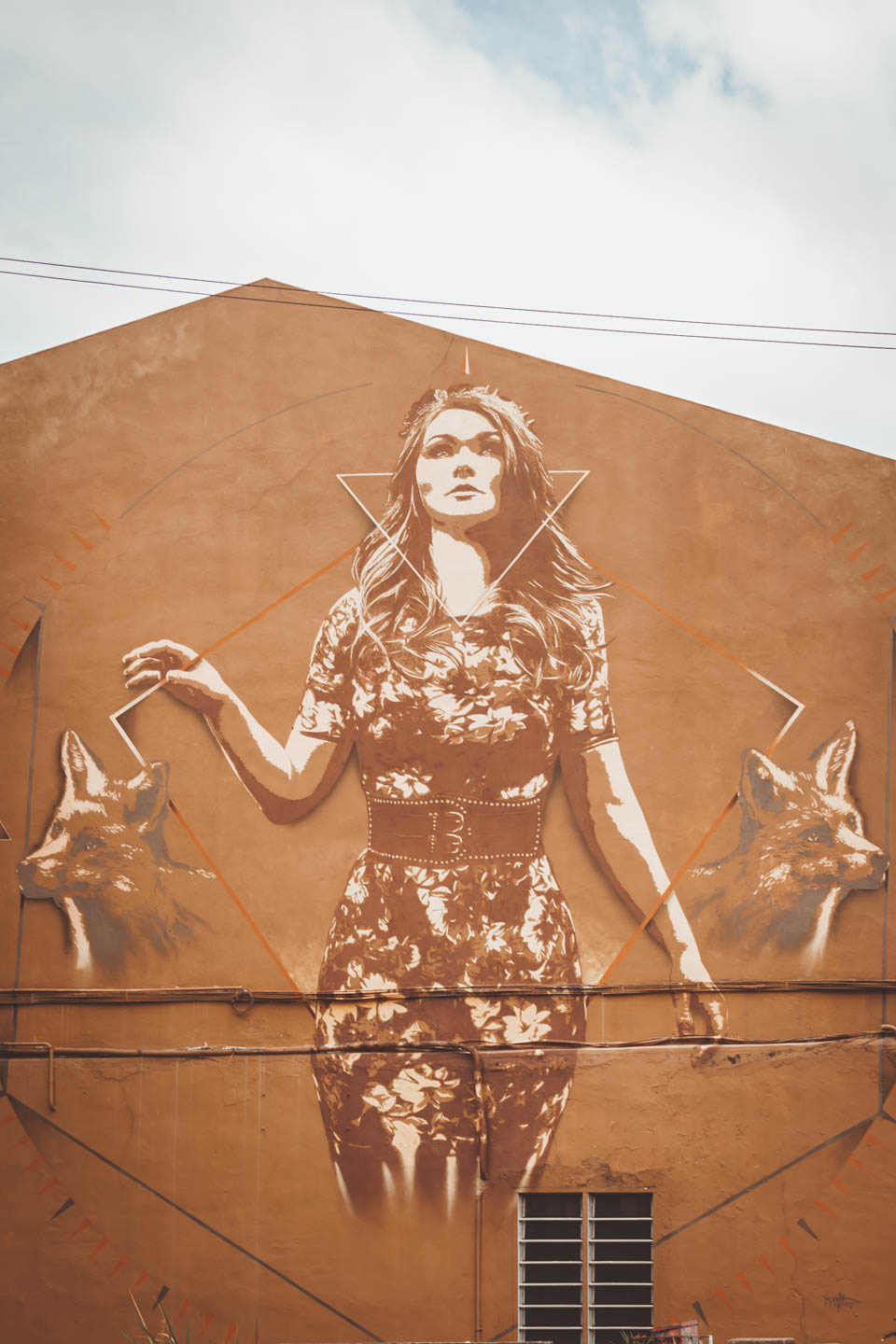 Fox Lady mural by Tank Petrol, Urban Xchange Crossing Over Hin Bus Depot