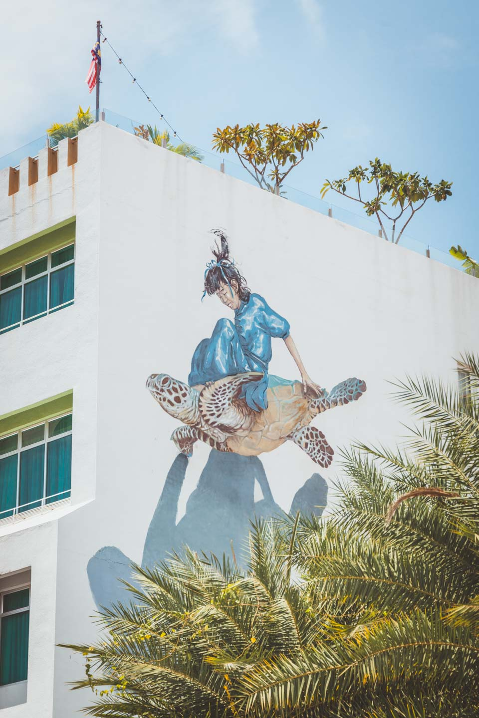 Girl on a turtle, Ernest Zacharevic, Penang Street Art