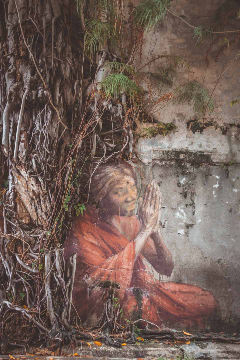 Indian Woman, Woman in Tree, Penang Street Art, Julia Volchkova, Malaysia