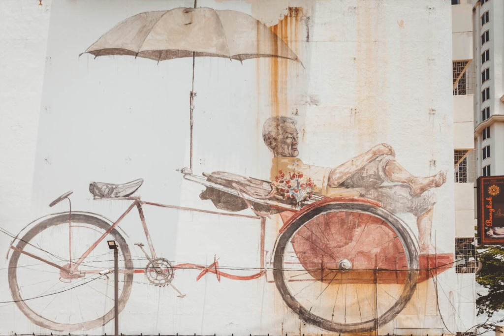 The Awaiting Trishaw Paddler : Trishaw Man, Ernest Zacharevic, Mirrors George Town Penang Street Art
