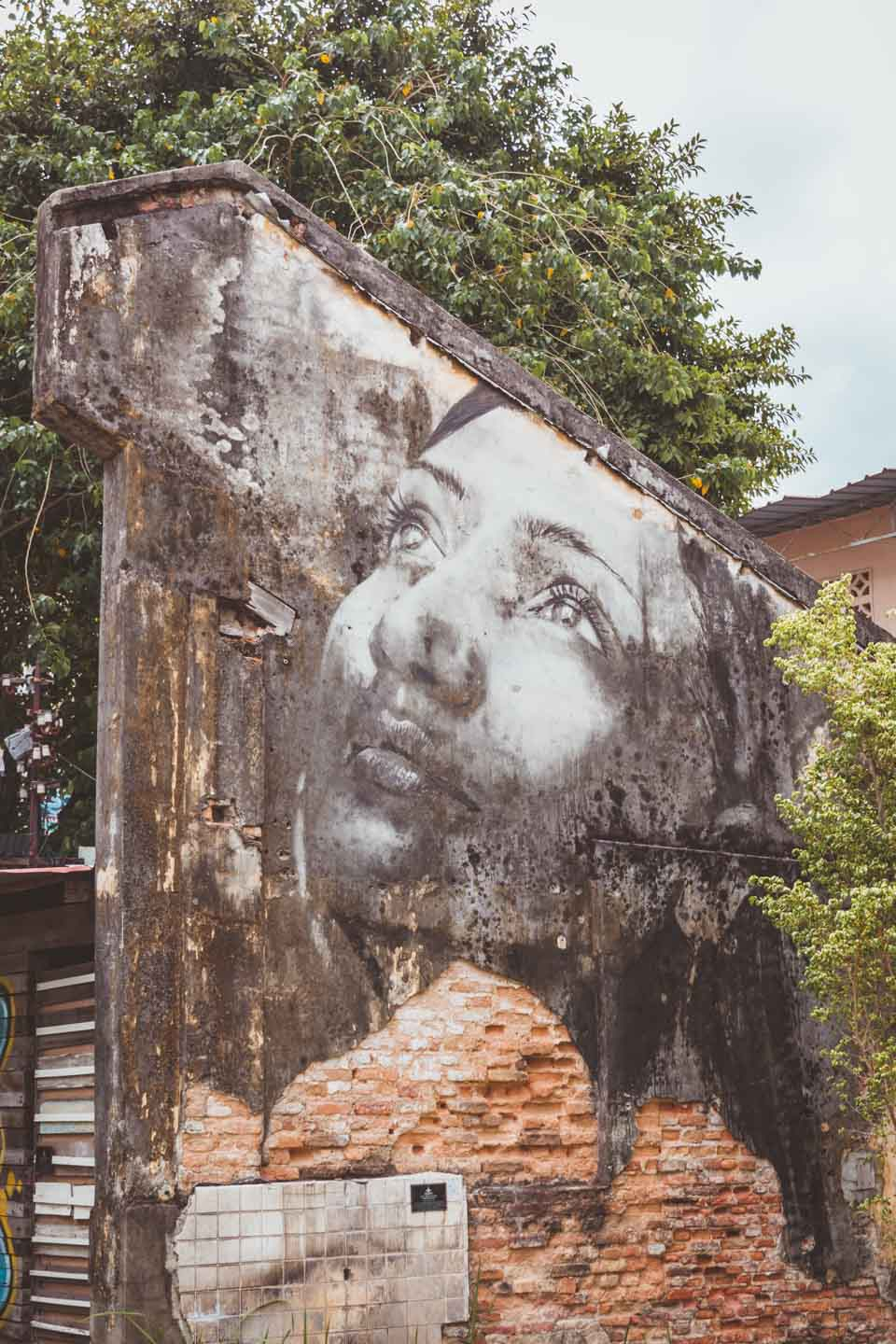 Woman looking up, Rone, Hin Bus Depot, Penang Street Art