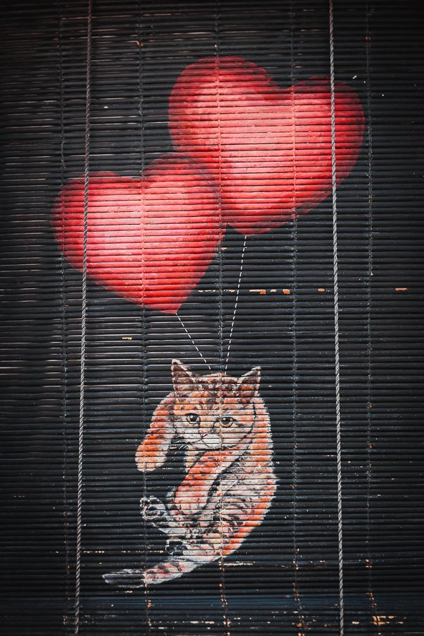 Cat Flying with Heart Balloons, Penang Street Art, 101 Lost Kittens Project by ASA