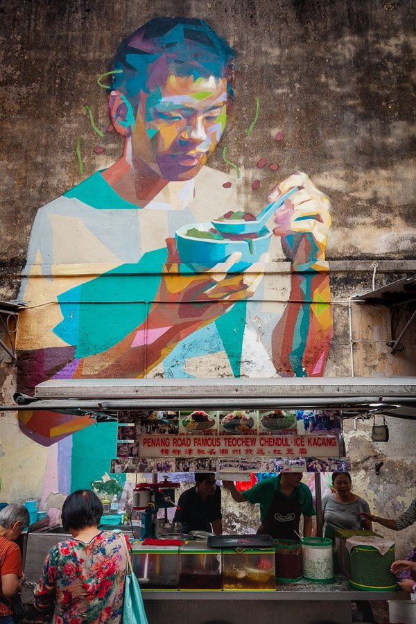 Having a bowl of Cendol Emmanuel Jarus, Teochew Chendol stall George Town, Penang