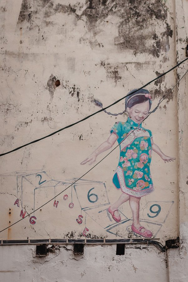 Little Girl with Cheongsam Walking on Numbers, Penang Street Art