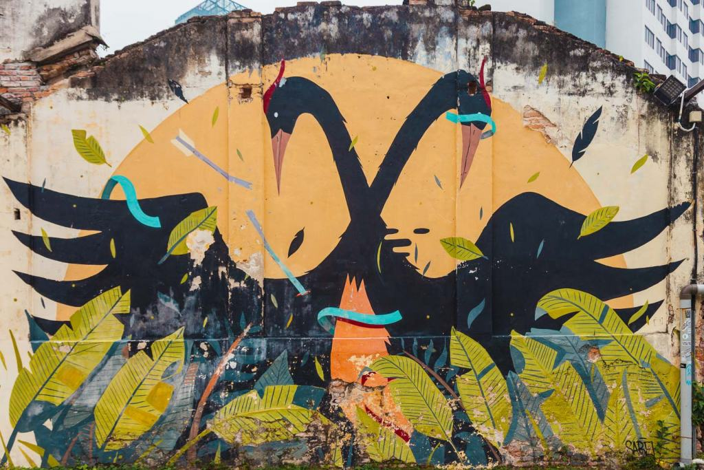 Swans by Sabek, Hin bus depot, Penang street art