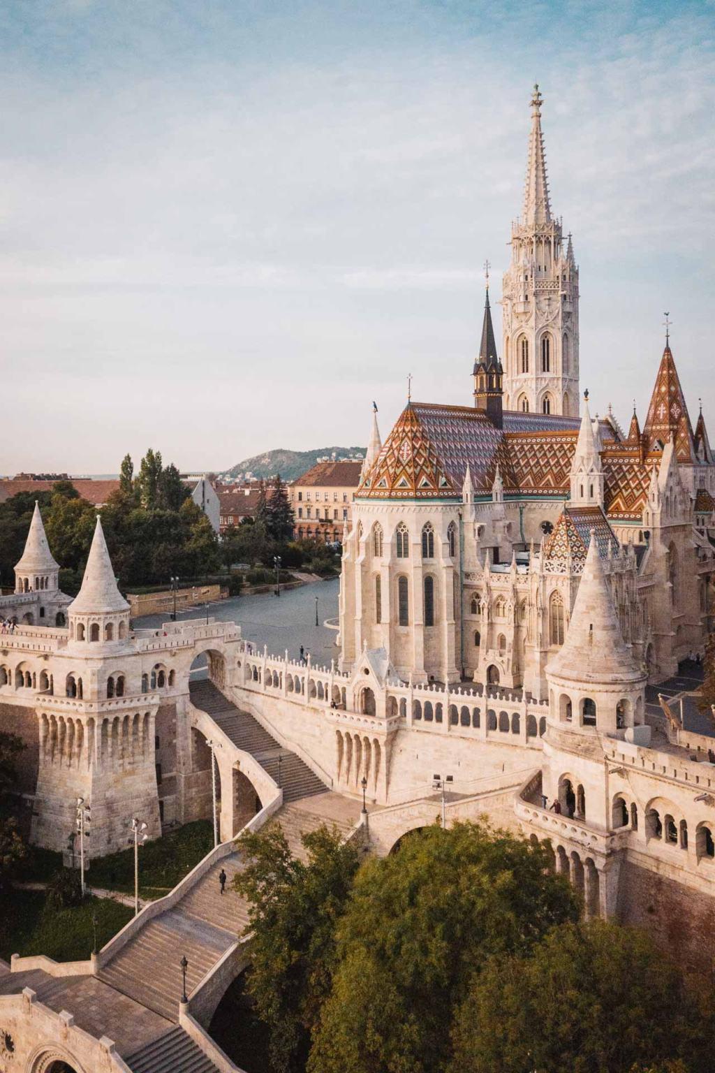 Drone Fisherman's Bastion, Matthias Church, Budapest, Hungary