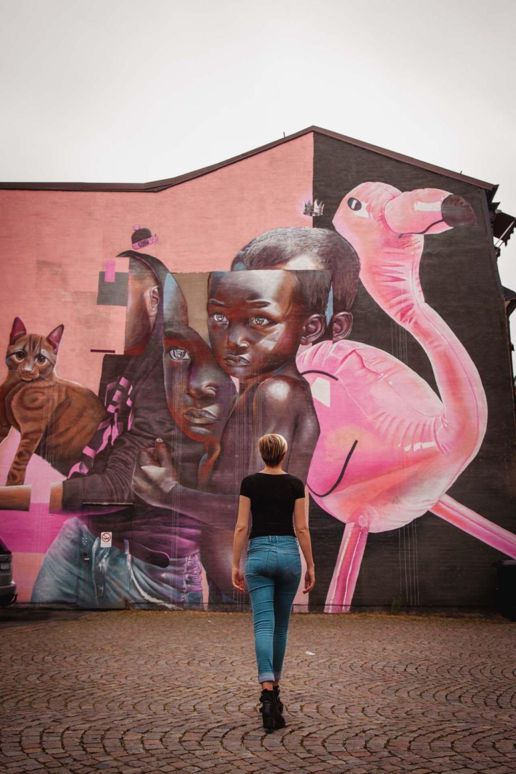 Helsingborg Street Art, In the land of grey and pink, Telmo Miel, Skåne, Sweden