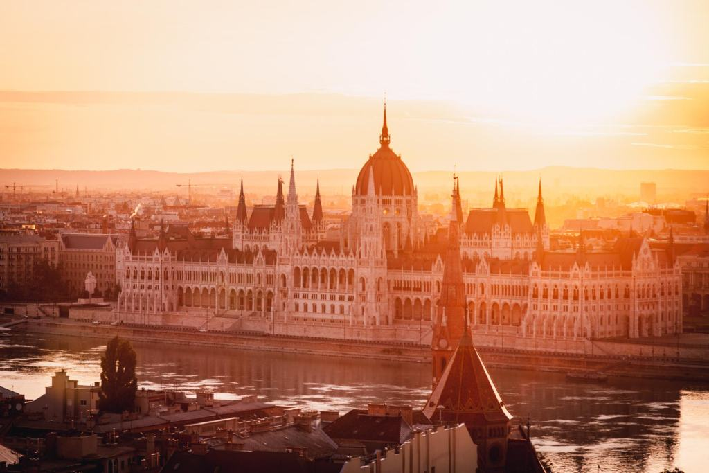 Hungary parliament building in Budapest during sunrise, view from Fisherman's Bastion
