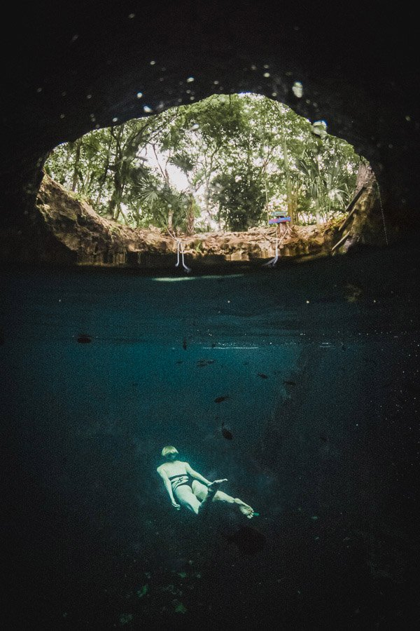 GoPro dome above/below Cenote Tulum