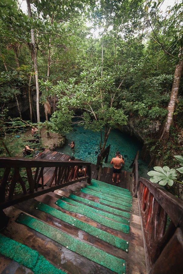 Gran Cenote Tulum secret staircase, small entrance