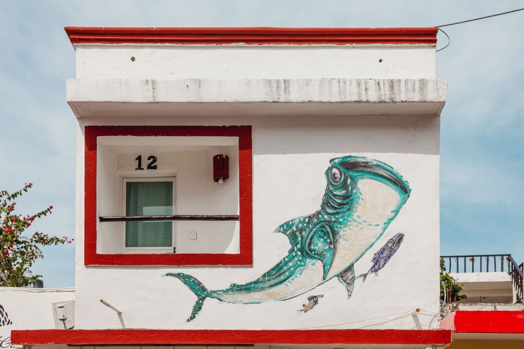 Sea Walls, Artists for Oceans, The Traveler by Cinzah Merkens, Isla Mujeres things to do, street art Cancun