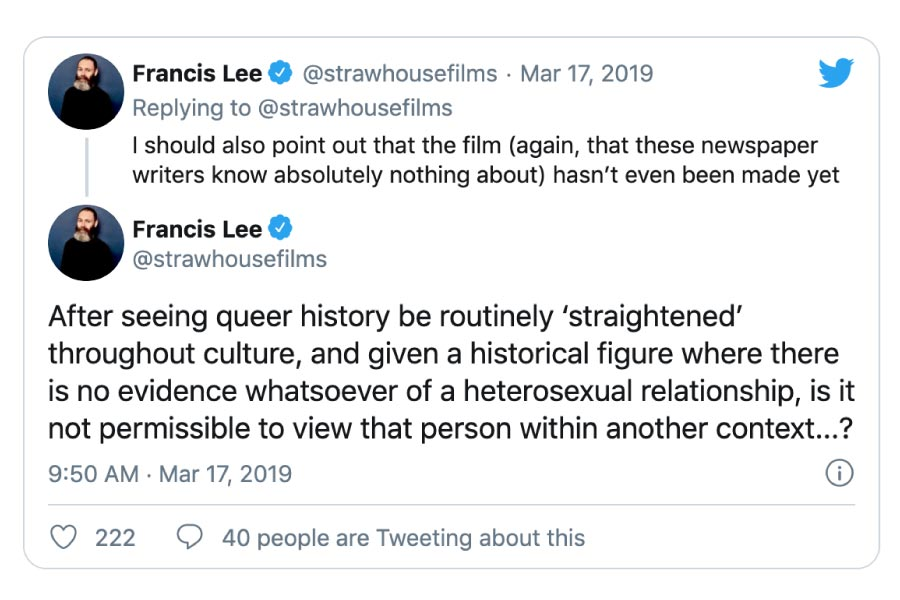 Tweet by director Francis Lee about Anning's orientation