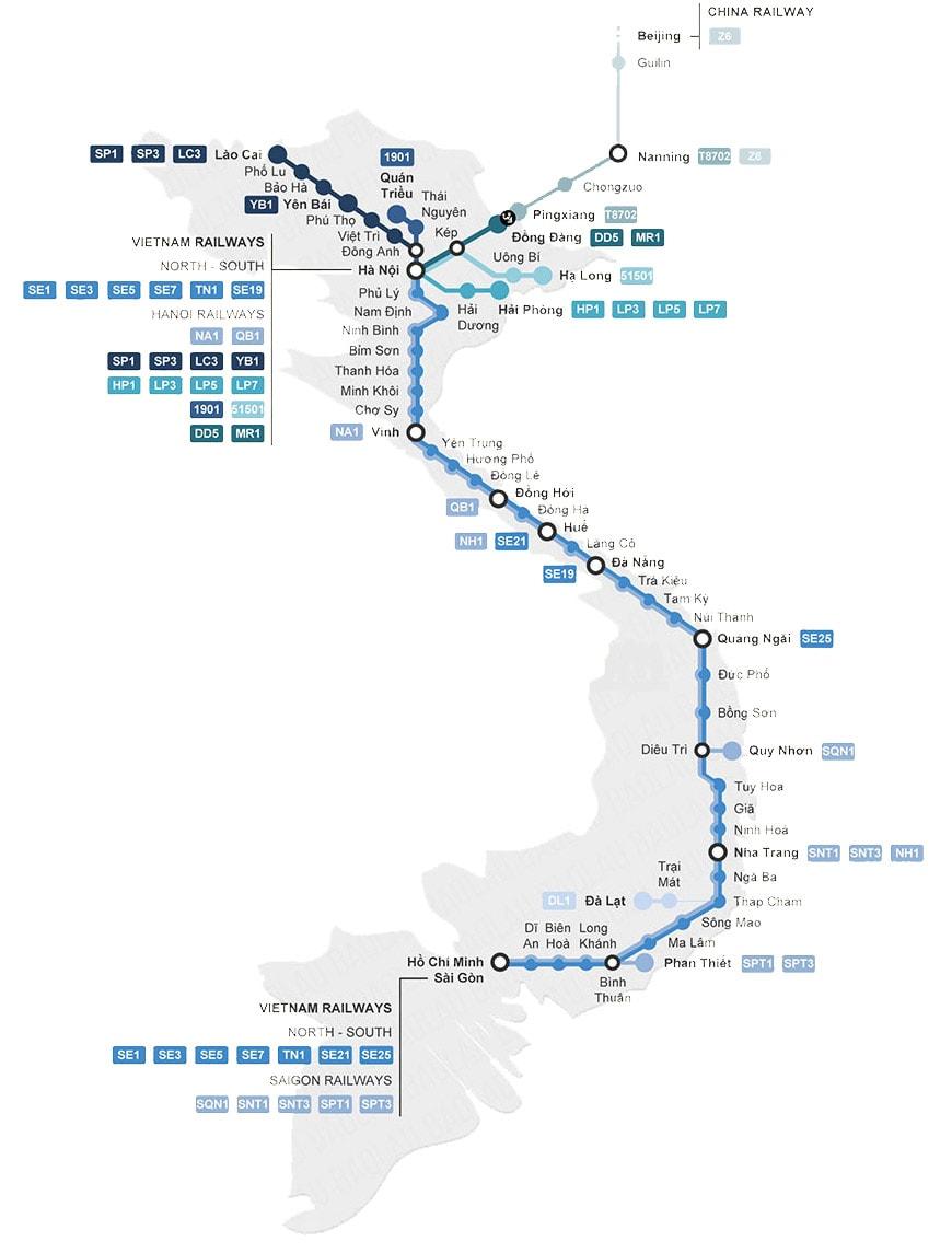 Vietnam Train Map