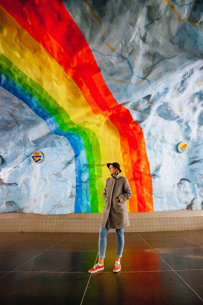 Stockholm Metro Art, T-bana, Stadion station, rainbow art