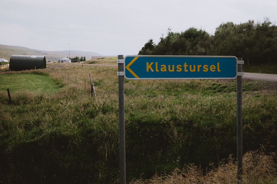 Farm Klaustursel sign to Studlagil Canyon parking