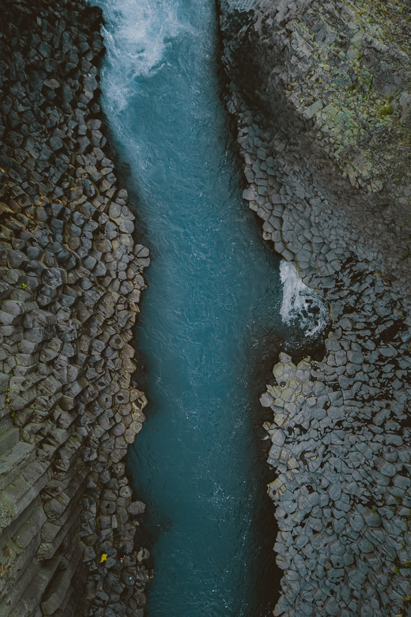 Studlagil Canyon Iceland drone aerial photo basalt canyon