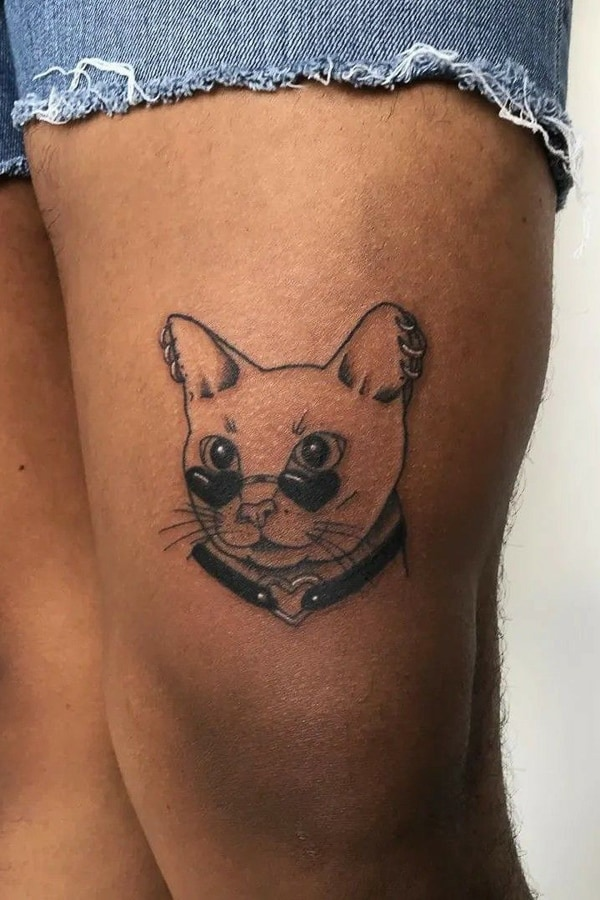 Cat Tattoo Melinated Skin by lily obrian