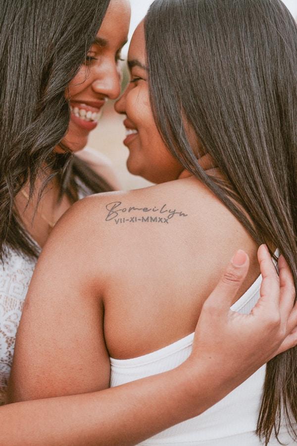 Name Tattoo Date Tattoo Dark Skin Lesbian Couple Tattoo Cindy