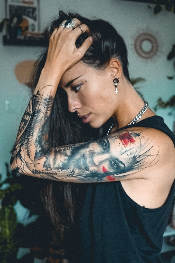 Sleeve Tattoos Left Arm Face Tattoo Gaia by Ivan Trapiani