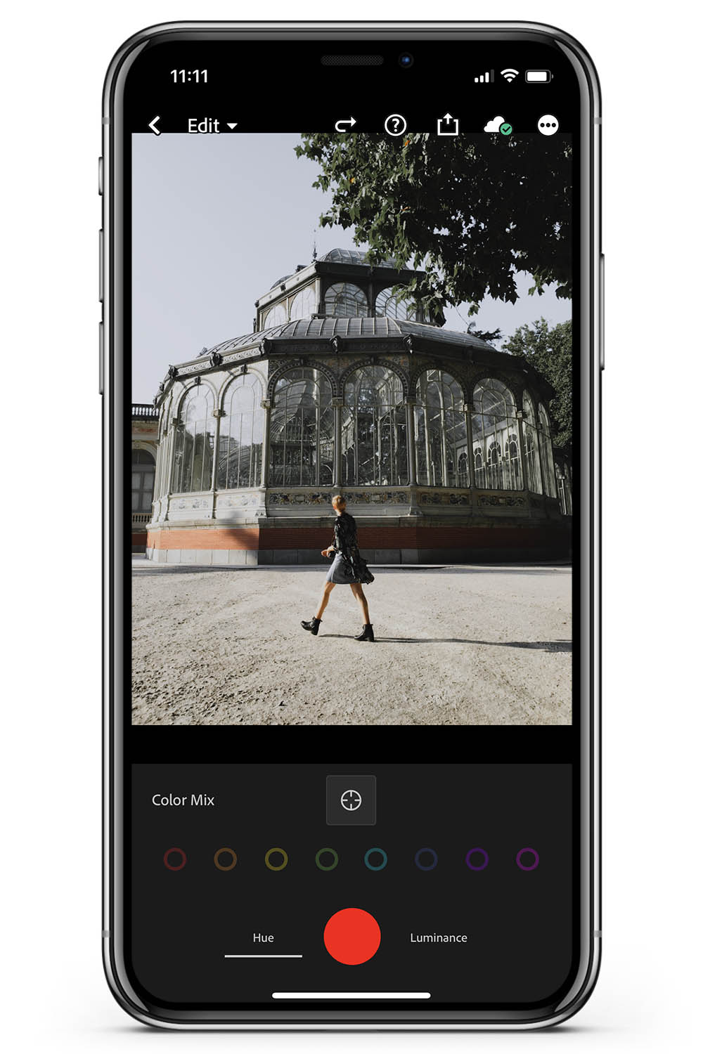 How to edit Lightroom mobile color mix target tool