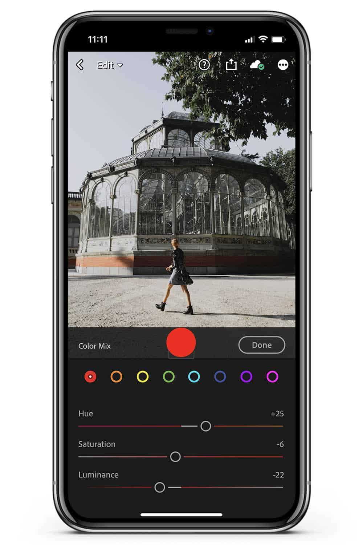 How to edit Lightroom mobile color mix