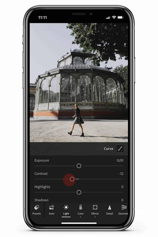 How to edit Lightroom Mobile tutorial contrast