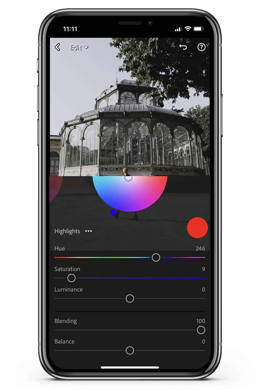 Mobile Lightroom tutorial color grading highlights