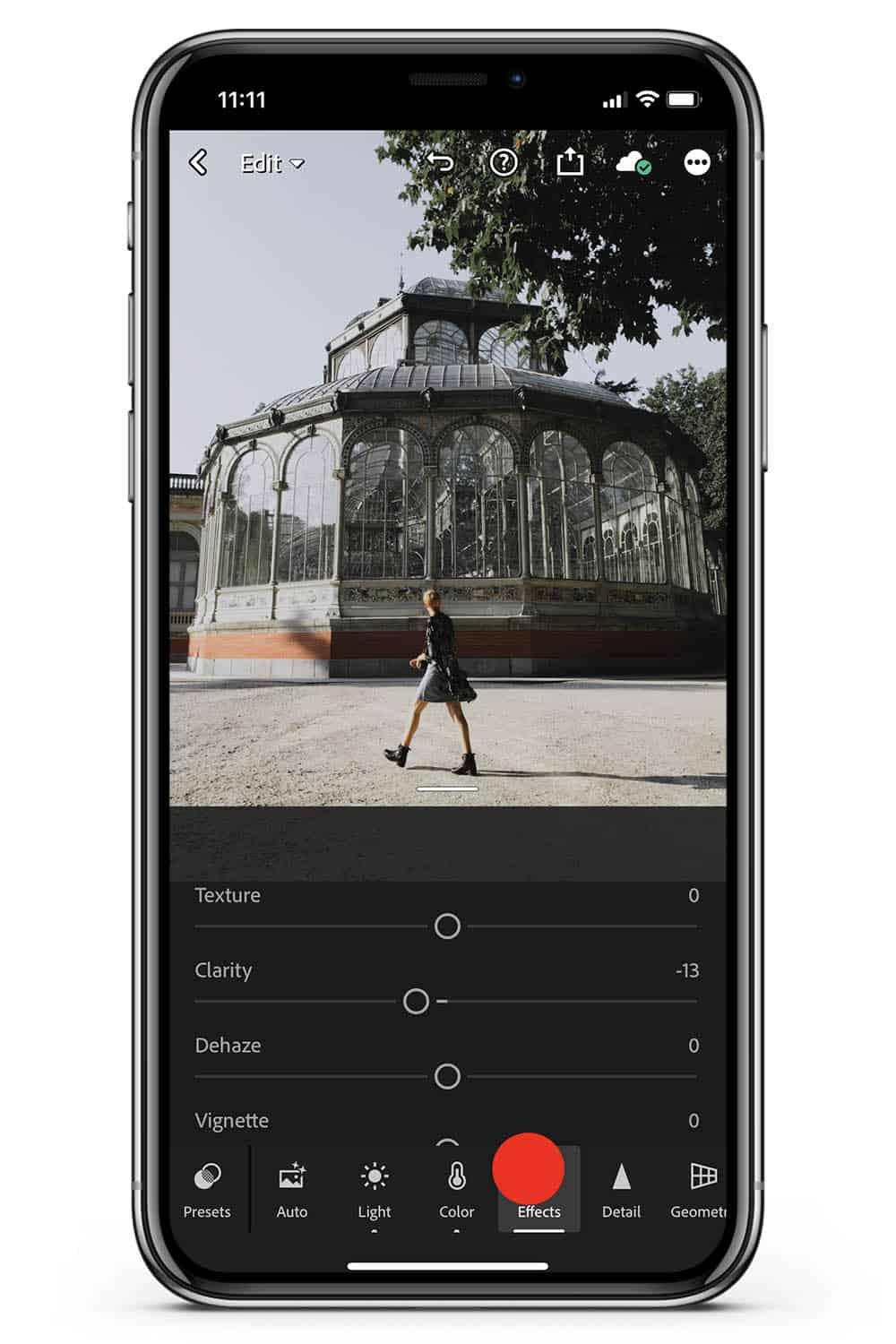 Mobile Lightroom tutorial effects clarity