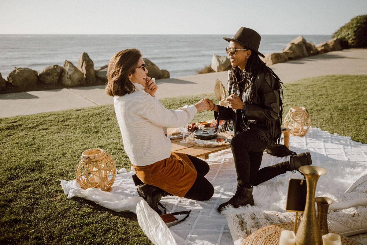 Romantic surprise picnic proposal interracial lesbian couple asia and tierra coutureinclinic digitalpensieve
