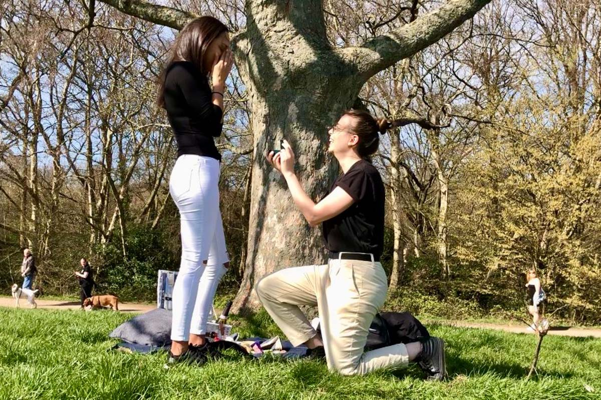 Surprise picnic proposal ring pop lesbian couple Alexa and Maria